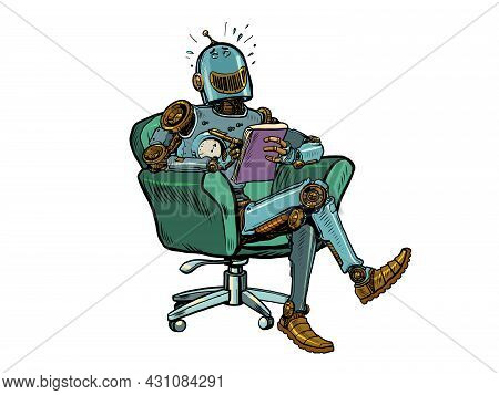 A Robot Psychotherapist Laughs At A Psychotherapy Session. Science Fiction. Humor