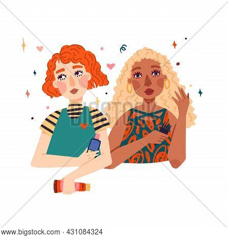 Illustration Of Couple Cute Girls With Wavy Blonde And Red Hair. Women Uses A Comb For Curly Hair An