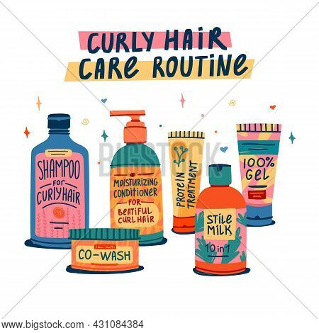 Illustration Of Cosmetics For Curly Hair Routine. Curly Girl Method. Hair Care Bottle Styling, Clean