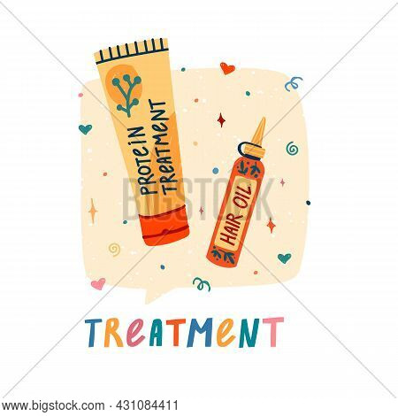 Llustration Of Cosmetics For Curly Hair. Curly Girl Method. Bottle Cream, Hair Oil For Treatment Hai