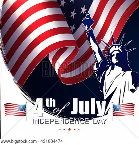 Composition With Silhouette Of Waving Flag Of America, Independence Day, Design Element