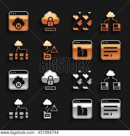 Set Cloud Technology Data Transfer, Browser Window, File Missing, Computer Network, Data Stream, Fai