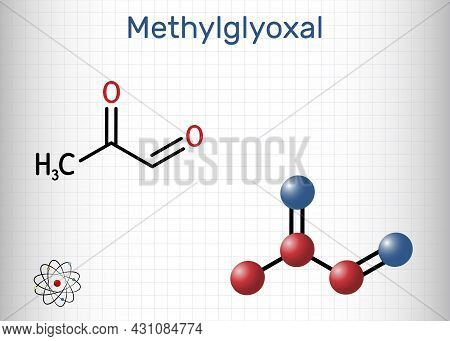Methylglyoxal, Mgo, Pyruvaldehyde, Pyruvic Aldehyde Molecule. It Is Used As Flavoring Agent, And In