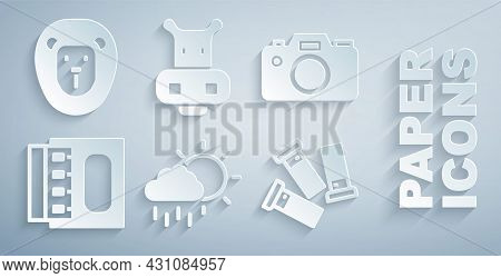 Set Cloud With Rain, Photo Camera, Matchbox And Matches, Cartridges, Hippo Or Hippopotamus And Wild