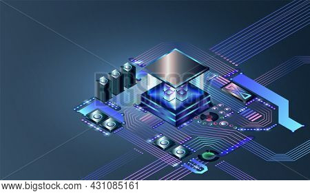 Electronic cpu digital chip. Abstract computer hardware or electronic components on motherboard. Technology of develop electronic devices on microchip or microprocessor, AI engineering