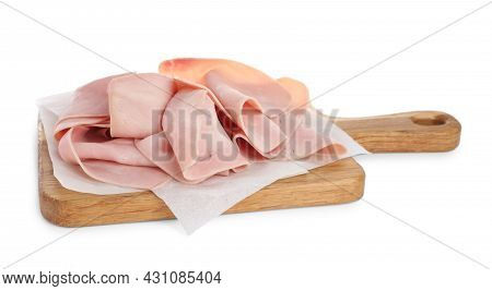 Delicious Ham Slices With Wooden Board Isolated On White