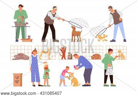 Shelter Animals Set Of Flat Icons With Characters Of Dog Catchers Veterinary Doctors And New Owners