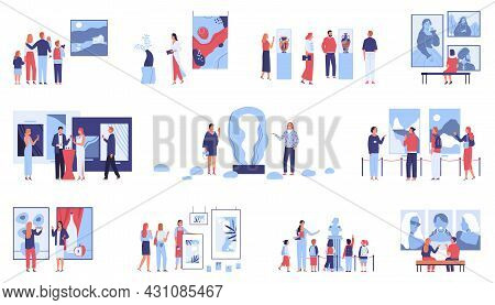 Set With Isolated Compositions Of Art Gallery Museum Artwork Icons With Paintings And Characters Of