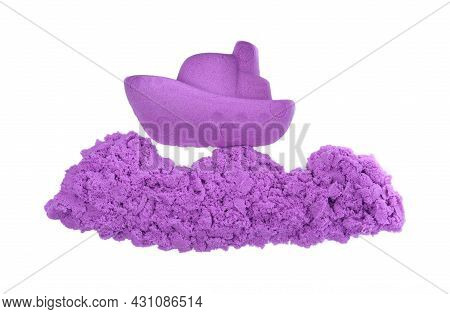 Ship Made Of Kinetic Sand On White Background, Top View