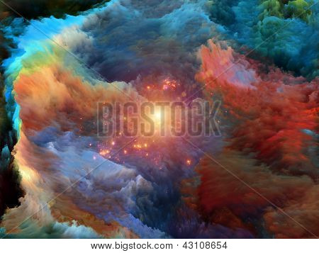 Background composition of dreamy forms and colors to complement your layouts on the subject of dream imagination fantasy and abstract art poster