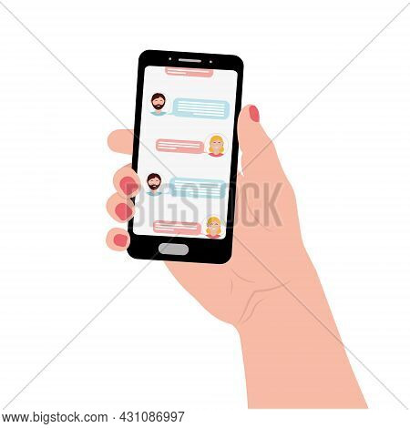 A Man And A Woman Correspond In A Chat On The Phone, Color Vector Illustration.