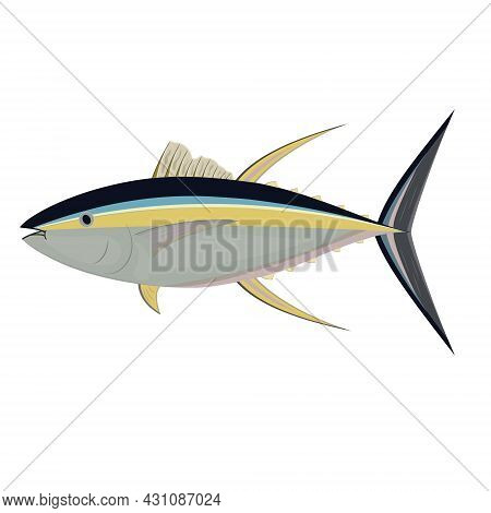 Tuna Fish Isolated On A White Background, Color Vector Illustration.