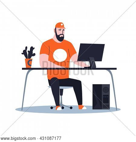 Male sysadmin working on computer to maintaining or repairing server. Repairing and adjusting work on network connection. Technical engineer work on system maintenance