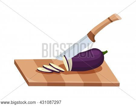 Sliced vegetable. Slicing eggplant by knife. Cutting on wooden board isolated on white background. Prepare to cooking. Chopped fresh nutrition in cartoon flat style