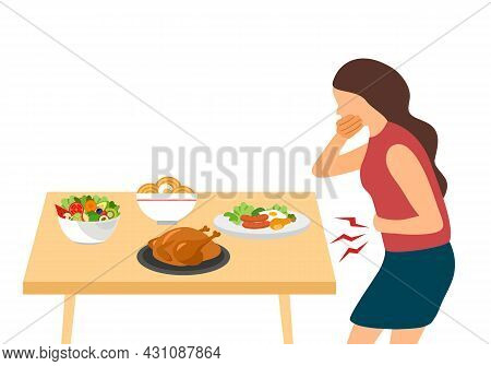 Woman Vomiting In Dining Room Flat Design On White Background. Digestive System Problem. Pregnancy S