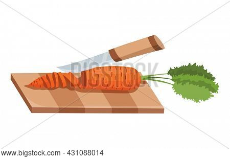 Sliced vegetable. Slicing carrot by knife. Cutting on wooden board isolated on white background. Prepare to cooking. Chopped fresh nutrition in cartoon flat style