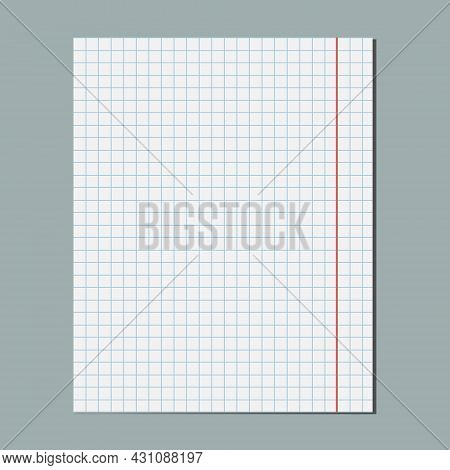 Square Grid Graphical Blank Paper Sheet, Empty Lined Paper, Student Notebook Page. Design Template,