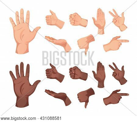 Set Of Isolated Icons Of Human Hands Of White And Black Skin Color Showing Various Gestures Vector I