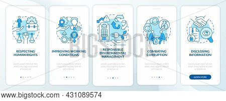 Csr Issues Blue Onboarding Mobile App Page Screen. Corporate Social Responsibility Walkthrough 5 Ste