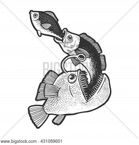 Big Fish Eat Small Fish Food Chain Sketch Engraving Vector Illustration. T-shirt Apparel Print Desig