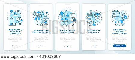 Csr Matters Blue Onboarding Mobile App Page Screen. Corporate Social Responsibility Walkthrough 5 St