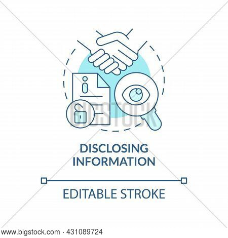 Disclosing Information Blue Concept Icon. Social Performance Abstract Idea Thin Line Illustration. V