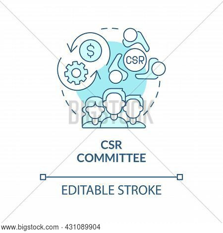 Csr Committee Blue Concept Icon. Board Of Directors Abstract Idea Thin Line Illustration. Corporate