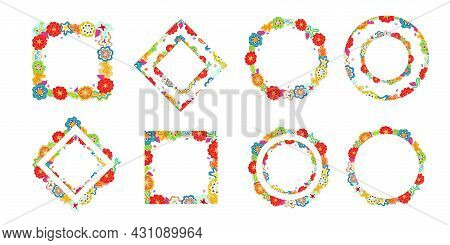 Collection Of Colourful Floral Rectangular And Round Hand Drawn Frames. Various Design Scribbles, Co