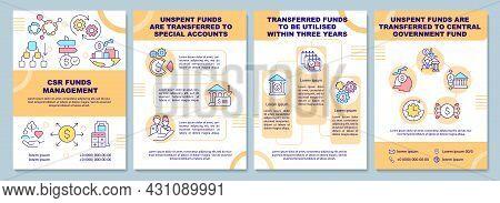 Corporate Social Responsibility Funds Management Brochure Template. Flyer, Booklet, Leaflet Print, C