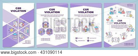Corporate Social Responsibility Violation Brochure Template. Flyer, Booklet, Leaflet Print, Cover De