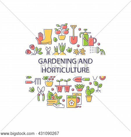 Gardening And Horticulture Abstract Color Concept Layout With Headline. Horticulture Creative Idea.