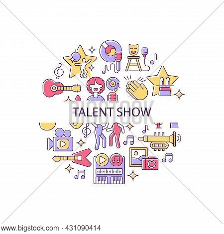 Talent Show Abstract Color Concept Layout With Headline. Live Entertainment. Demonstrate Talent And