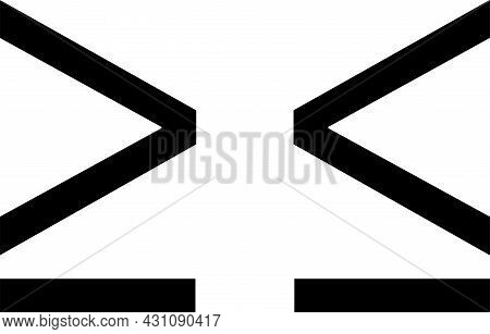 Greater-than And Less-than Symbol Isolated On White Background
