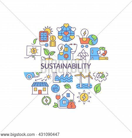 Sustainability Abstract Color Concept Layout With Headline. World Ecology. Alternative Power Generat