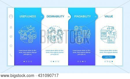 Ux Principles Onboarding Vector Template. Responsive Mobile Website With Icons. Web Page Walkthrough