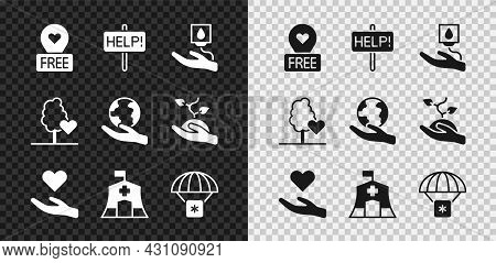 Set Location With Heart, Help Sign, Blood Donation, Heart In Hand, Emergency Medical Tent, Humanitar