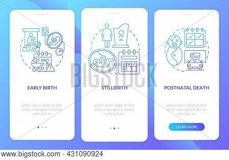 Maternity Leave Entitlement Cases Blue Gradient Onboarding Mobile App Page Screen. Walkthrough 3 Ste