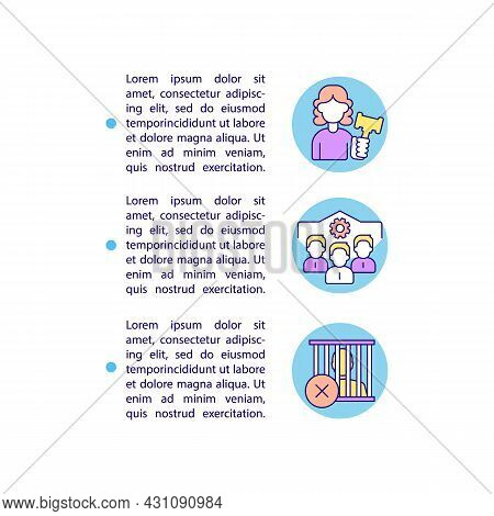 Ban On Company Officials Imprisonment Concept Line Icons With Text. Ppt Page Vector Template With Co