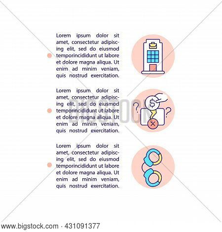 Company Officials Imprisonment Concept Line Icons With Text. Ppt Page Vector Template With Copy Spac