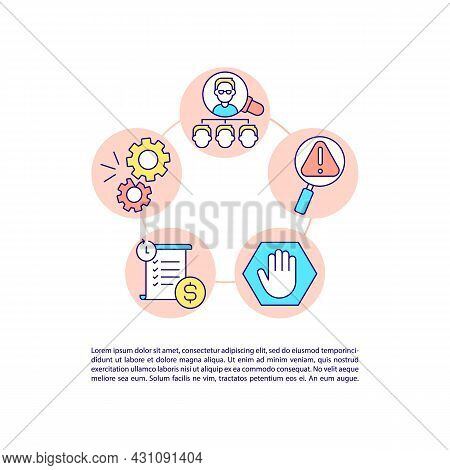Fines For Company Officials Concept Line Icons With Text. Ppt Page Vector Template With Copy Space.