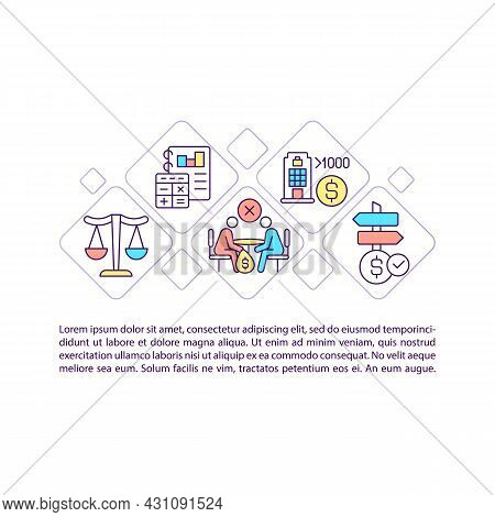 Corporate Social Responsibility Concept Line Icons With Text. Csr Regulation. Ppt Page Vector Templa
