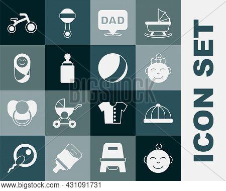 Set Little Boy Head, Baby Hat, Girl, Speech Bubble Dad, Bottle, Newborn Baby Infant Swaddled, Bicycl