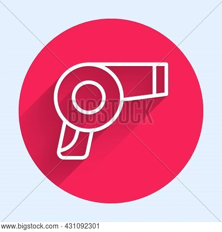 White Line Hair Dryer Icon Isolated With Long Shadow Background. Hairdryer Sign. Hair Drying Symbol.
