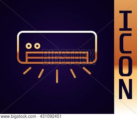 Gold Line Air Conditioner Icon Isolated On Black Background. Split System Air Conditioning. Cool And