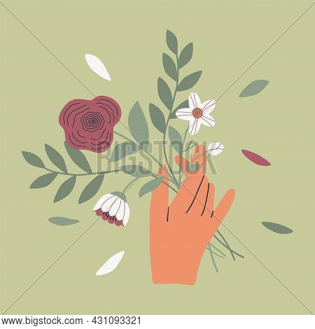 Female Or Male Hand Holding Bouquet Of Field Flowers. Beautiful Fall Floral Plant. Elegant Cut Flowe