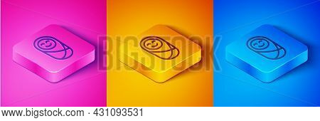 Isometric Line Newborn Baby Infant Swaddled Or Swaddling Icon Isolated On Pink And Orange, Blue Back