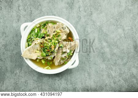 Hot And Spicy Soup With Pork Bone. Is A Spicy And Popular Food In Thailand Tourists Like It Very Muc