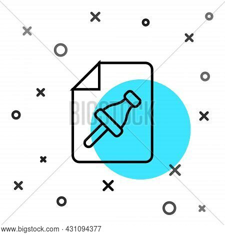 Black Line Note Paper With Pinned Pushbutton Icon Isolated On White Background. Memo Paper Sign. Ran