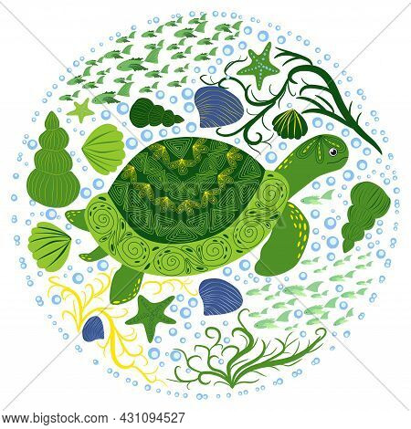 Green Turtle In Scandinavian Style With Painted Shell Pattern Hand Drawn, Among Seaweed, Starfish, S
