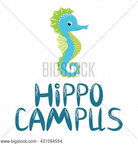Seahorse, Scandinavian Style Hippocampus, Hand Drawn, Beautiful Detailed